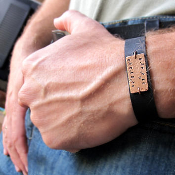 Coordinate Bracelet for Men - Personalized Men's Wristband - Leather Bracelet Black or Brown - Custom Band Bracelet