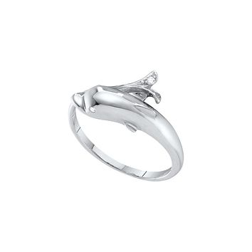 10kt White Gold Womens Round Diamond Dolphin Fish Animal Wrap Ring .03 Cttw