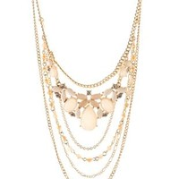 Pale Peach Layered Chain & Faceted Stone Necklace by Charlotte Russe