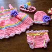 PATTERN baby dress hat shoes headband diaper cover in 5 size , 5 patterns in 1 , baby set crochet pattern