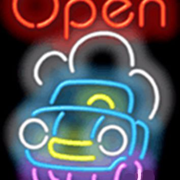 "Open with Car GLASS Tube neon light sign Handcrafted Automotive signs Shop Store man cave bar gas oil 17""x14"""