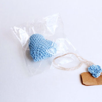 Something Blue Wedding Favors hearts, Blue Wedding Favors, crocheted hearts amigurumi, Party favors,Wedding Table Decor,  Custom Card Holder