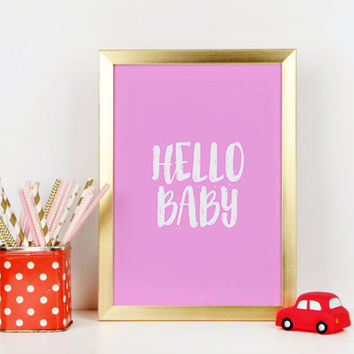 Girls Room Decor Baby Girl Gift Girly Gifts Newborn Nursery Wall Art Nursery Decor Nursery Art Baby Room Play Hello Sign Hello Baby Quotes