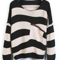 Black Stripes Loose Sweater with Pocket  style sweater394