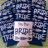 bride tribe can coolers, wedding cozy, bachelorette wedding coozies, party coozies, party bachelorette, bachelor parties, girls gifts