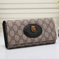 Gucci Women Leather Shopping Buckle Purse Wallet