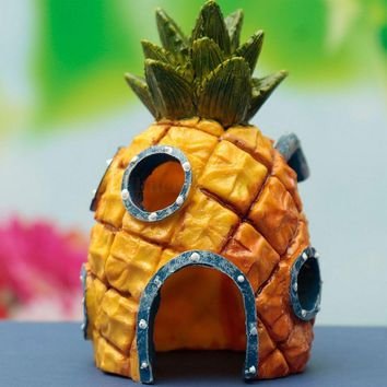 New Arrival Aquarium Spongebob Squarepants Pineapple House Fish Tank Ornament Home