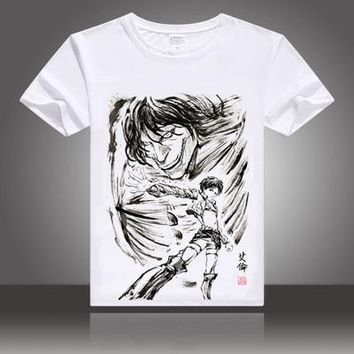 Japan Anime Attack on Titan  cosplay t-shirt Eren Jaeger men tshirt  ink painting cotton Tees Tops