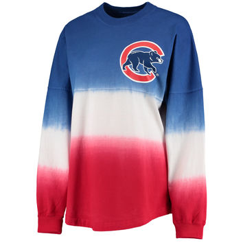 Chicago Cubs Women's Royal Oversized Long Sleeve Ombre Spirit Jersey T-Shirt