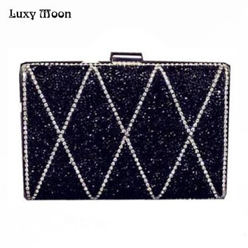 ON Sale 2017 Woman Evening bag Women Diamond Clutch Crystal Day Clutches Wallet Wedding Purse Party Banquet Silver/Gold w727