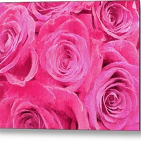 Valentine Bouquet Of Pink Roses Metal Print