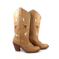 Inlay Cowboy Boots Vintage 1980s Brown Acme Leather Stacked Heel Women's size 6 1/2