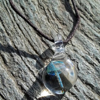 Glass Mushroom Pendant, Cord Necklace, OOAK, Ready for shipment