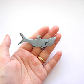 blue shark pin miniature , light blue baby shark, shark week , embroidered  brooch in faux leather, animal pin