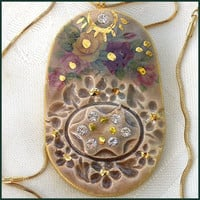 Ceramic Pendant Oval Shape, Handmade Vintage Style Pendant , Gold Decorations, OOAK