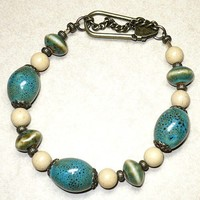 Blue Green Porcelain Beads with Camel Jasper Plus-Size 9 Inch Bracelet | KatsAllThat - Jewelry on ArtFire