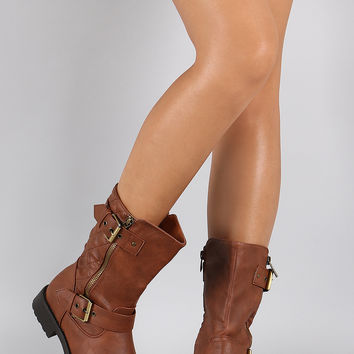 Quilted Zipper Mid Calf Boot