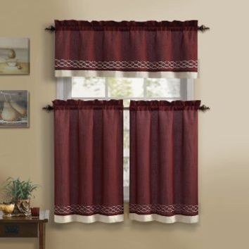 3 Piece Kitchen Curtain Set : 1 Valance, 2 Tiers, Solid Colors, Rod Pocket (Burgundy and Beige)