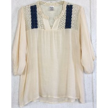 Wrangler Lace Yoke Peasant Top Cream Navy Blue Crochet Western Cowgirl Blouse L