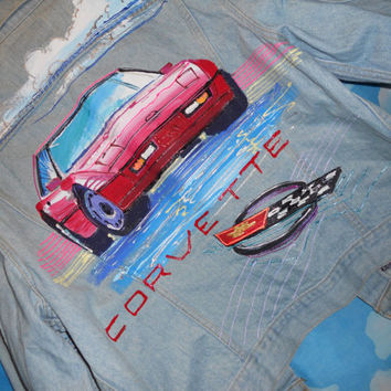Vintage 80s Jean Jacket Corvette Puff Paint Neon Dice Art Large XL