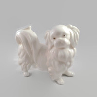 White Porcelain Pekingese Figurine by Ardalt Japan Unmarked