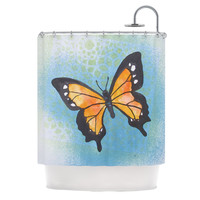 "Padgett Mason ""Summer Flutter"" Blue Orange Shower Curtain"
