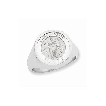 Sterling Silver Mens Saint Florian Ring
