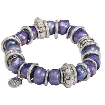 """6"""" 11mm Purple Baroque Shaped Freshwater Pearl and Stainless Steel Ring Bracelet"""