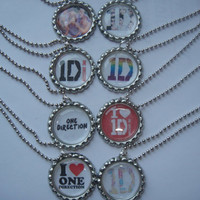 8 1D one direction party favor necklaces group of 8 bottle cap ball chain necklaces also pins, zipper pulls, bracelets, hair clips