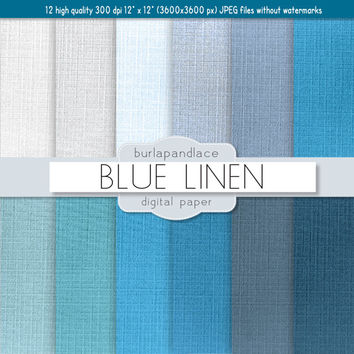 Blue linen digital paper: LINEN with blue / white / gray linen backgrounds / textures / for scrapbooking, cards