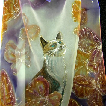 Custom cat portrait on silk made to order. The portrait of your cat painted on pure silk by Estonian artist