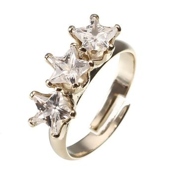 JASSY® Fashion Gold Plated Triple Five-pointed Star Shiny Zirconia Adjustable Ring for Women