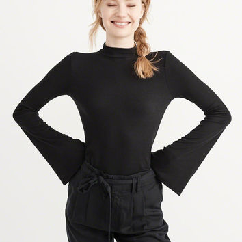 Womens Mock Neck Bell Sleeve Top | Womens New Arrivals | Abercrombie.com