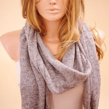 Oversized, Long Gray, Grey  Scarf, Long Scarf, Knitting Scarf