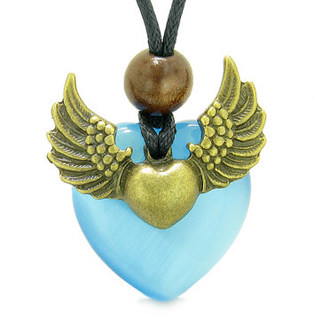 Angel Wings Double Lucky Heart Donut Amulet Magic Powers Sky Blue Simulated Cats Eye Pendant Necklace