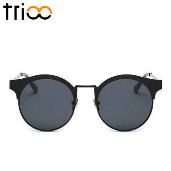 TRIOO Round Sunglasses High Quality Metal Circle Sun Glasses For Women Small Circle Oculos Shades 2017 Vintage Designer Lunette