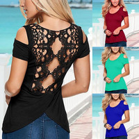 Sexy Women Summer Cut Out Back Top Off Shoulder Blouse Casual Tops T-Shirt New