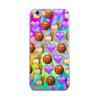 Key & Lock Basketball & Purple Hearts Emoji Collage Tie Dye Cute Girly Girls iPhone 4 4s 5 5s 5C 6 6s 6 Plus 6s Plus 7 & 7 Plus Case
