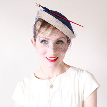 1940's Hat, VINTAGE, Tilt, WW2, Birdcage Veil, Avant Garde, Artist, French, Pin Up, Paris