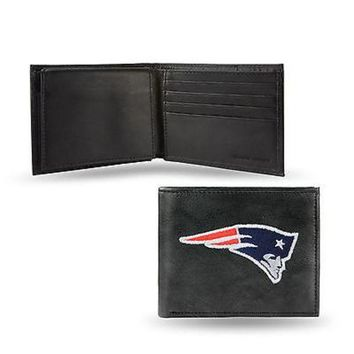 ONETOW New England Patriots Wallet Premium Black LEATHER BillFold Embroidered Football