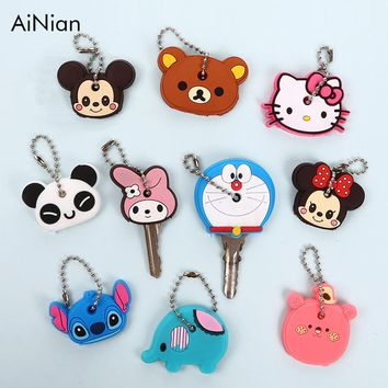 AiNian Cute Anime Cartoon Key Chain Silicone Key Cover Key Cap Women Hello Kitty Minions Minnie Mickey Ring Car Keychain