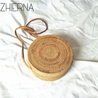 Women Bohemian Bali Handbag Summer 2017 Handmade Crossbody leather shoulder Beach bag Circle Straw Bags tassel Rattan Bag