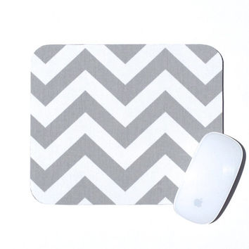 Chevron Mouse Pad / Gray and White / Home Office Decor / Zig Zag / Premier Prints / Slightly Smitten Kitten
