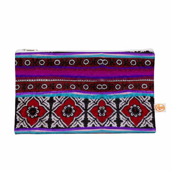 "S Seema Z ""SINDHI AJRAK"" Purple Pattern Everything Bag"