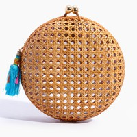 Lizzy Wicker Circle Clutch - Natural