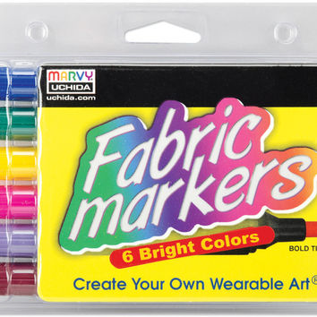 fabric marker broad tip 6/pkg-bright