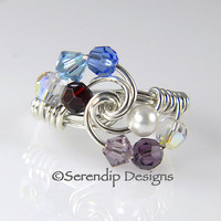 Grandmothers Ring Mothers Ring Argentium Sterling Silver and 8 Swarovski Birthstone Crystals mr8-4