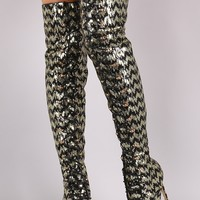 Sequin Pointy Toe Lace-Up Stiletto Over-The-Knee Boots