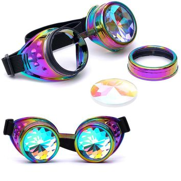 snowshine YLW Kaleidoscope Colorful Glasses Rave Festival Party EDM Sunglasses Diffracted Lens