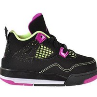 Jordan 4 Retro GT Baby Toddlers Shoes Black/Fuchsia Flash-Liquid Lime-White 705345-027